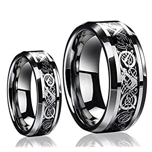 His & Her's 8MM/6MM Tungsten Carbide Celtic Knot Dragon and Carbon Fiber Inlay Wedding Band Ring Set