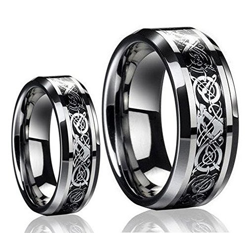 His & Her's (1 Pair) 8MM/6MM Tungsten Carbide Celtic Knot Dragon Design Carbon Fiber Inlay Wedding Band Ring Set ()