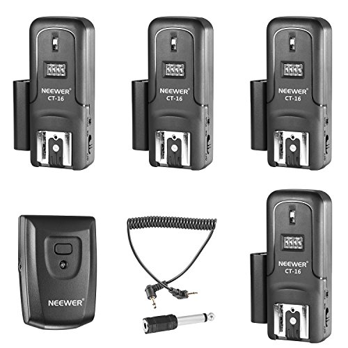 Neewer 16 Channels Wireless Radio Flash Speedlite Studio Trigger Set, Including (1) Transmitter and (4) Receivers, Fit for Canon Nikon Pentax Olympus Panasonic DSLR Cameras (CT-16) (Wireless Radio Trigger)