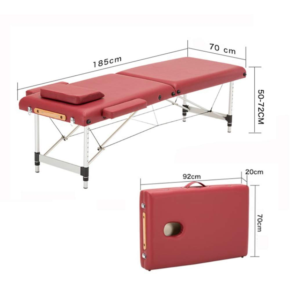 WGIRL Massage Bed Spa Tattoo Body Beauty PVC Furniture Portable Foldable Massage Bed Salon Facial Massage Table, 185Cm70Cm Bed+ Pillow+Armrest,A by WGIRL