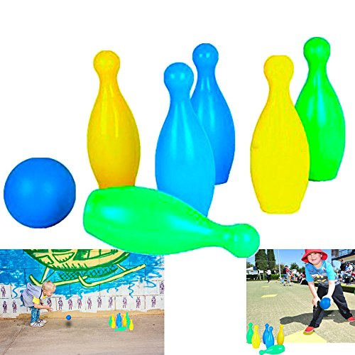 Dazzling Toys Kids Plastic Bowling Set Party Toys - 6 Pins and One Ball Comes in Nice and Bright Colors by dazzling toys