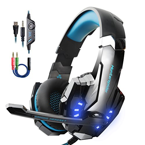 - Stereo Gaming Headset for PS4, PC, Xbox One Controller, Noise Cancelling Over Ear Headphones with Mic, LED Light, Bass Surround, Soft Memory Earmuffs for Laptop Mac Nintendo Switch Games