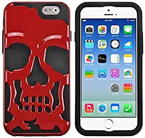 Okai Skull mode 2-Piece Hybrid High Impact PC and Silicone Case Cover for IPhone 6 Plus (Black+Red)