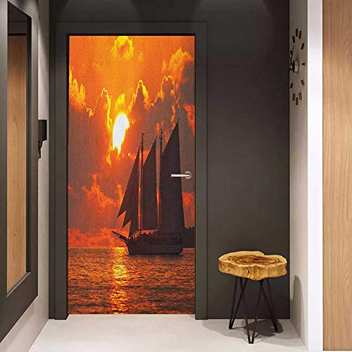 Self-Adhesive Wall Murals Sailboat A Boat Sailing in Front of a Sunset in Key West Florida Sundown Tropical Sticker Removable Door Decal W23.6 x H78.7 Orange Dark Orange