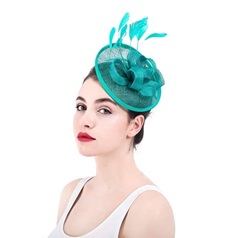 Ladies Vintage Elegante Cappello da Donna Fascinator Cocktail Tea Party Hat  Wedding Headwear Flower Hair Clip 721c3668a053