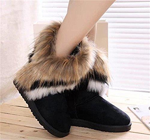 Kvinna Fuskpäls Tofs Vinter Snö Boot Mocka Flat Boots Svart
