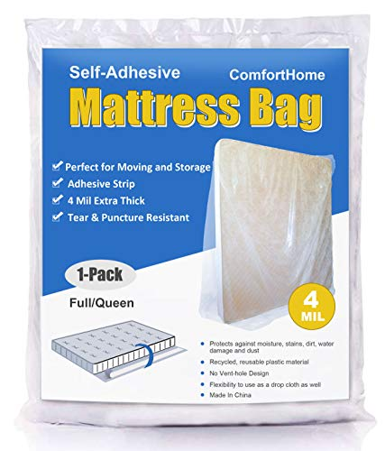 (ComfortHome 4 Mil Extra Thick Sealable Mattress Bag with Adhesive Strip for Moving and Storage, Fits Twin, Full and Queen Size, 1 Pack)