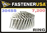 "1 3/4"" Ring 304 Stainless Coil Roofing Nails 7.2M"