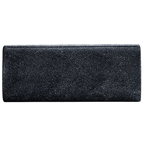 Women Envelope Evening Bag Clutches Bag Handbags Shouder Bags Wedding Purse with Detachable Chain (black) by Hibags (Image #2)