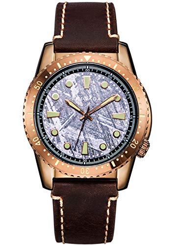 BRIGADA Swiss Brand Men's Dress Watches for Mature Men, Nice Business Casual Comfortable Leather Brass Brown Men Watches Waterproof - Watch Leather Brass Wrist