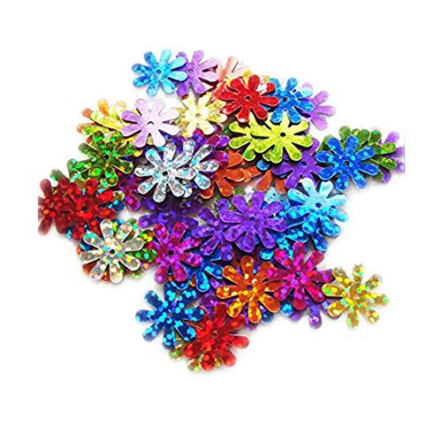 ZIJING 15mm Daisy Flower Shape Sequins Gold Silver Colors Red Blue Pink Purple Green Loose Sequins for Embroidery, Applique, Knitting, Arts, Crafts, and Embellishment ()