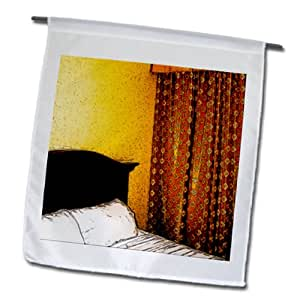 Jos Fauxtographee Realistic - A bed with a headboard and curtains on the window in a hotel - 18 x 27 inch Garden Flag (fl_64710_2)