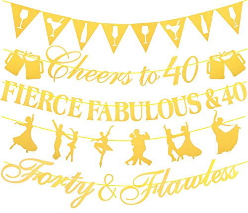 40th Birthday Decorations Party Supplies Pink | 40th Birthday Decorations Pack of Unique 5 Banners - 'Fierce Fabulous & 40 - ' Cheers to 40 Years - 'Forty & Flawless' with Funky Shapes (Gold)