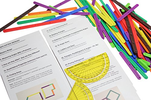 Curious Minds Busy Bags Geometry Snap Together Sticks with Compass and Activity Guides - Common Core Math Manipulative - Hands on learning math for elementary students