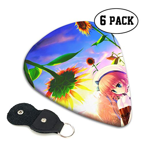 - Novelty Top Plants Yellow Orange Blue Sky Coneflower Ultra Light 0.46 Medium 0.71 Heavy 0.96mm Printed Round Flat Celluloid Jazz Electric Acoustic Bass Guitar Pick Ccessories Variety Pack Pocket
