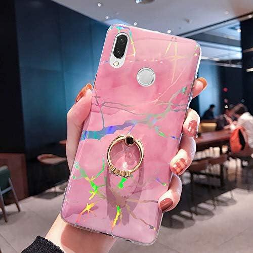Herbests Kompatibel mit Huawei P20 Lite Hülle Handyhülle Marmor Muster Glänzend Kristall Bling Strass Diamant Silikon TPU Schutzhülle Crystal Case Tasche mit Ring Halter Ständer,Rosa