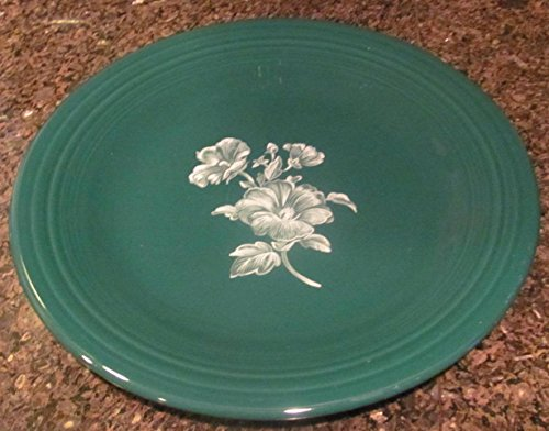(Fiesta Homer Laughlin Forest Green Dinner Plate w/White Floral Flowers - Retired )