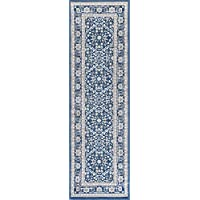 Beauregard Traditional Oriental Navy Runner Rug, 2 x 10