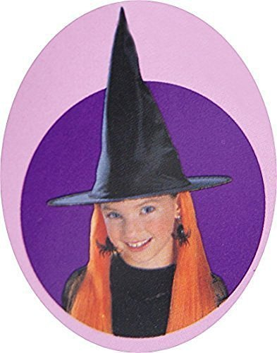 Childrens' Halloween Witch Hat with Neon Orange Hair ()