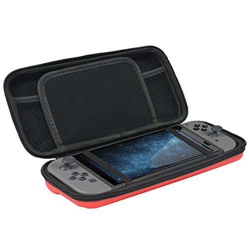 Newkiton Carry Case for Nintendo Switch with 8 Game Cartridge Holders and Inner Pockets Protective Hard Shell Travel Carrying Pouch Compatible with Nintendo Switch Console & Accessories (Red)