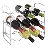 mDesign Free-Standing Countertop Wine Rack - 9 Bottle Storage, Chrome