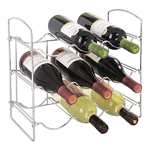 mDesign Free-Standing Countertop Wine Rack - 9 Bottle Storage, Chrome by mDesign