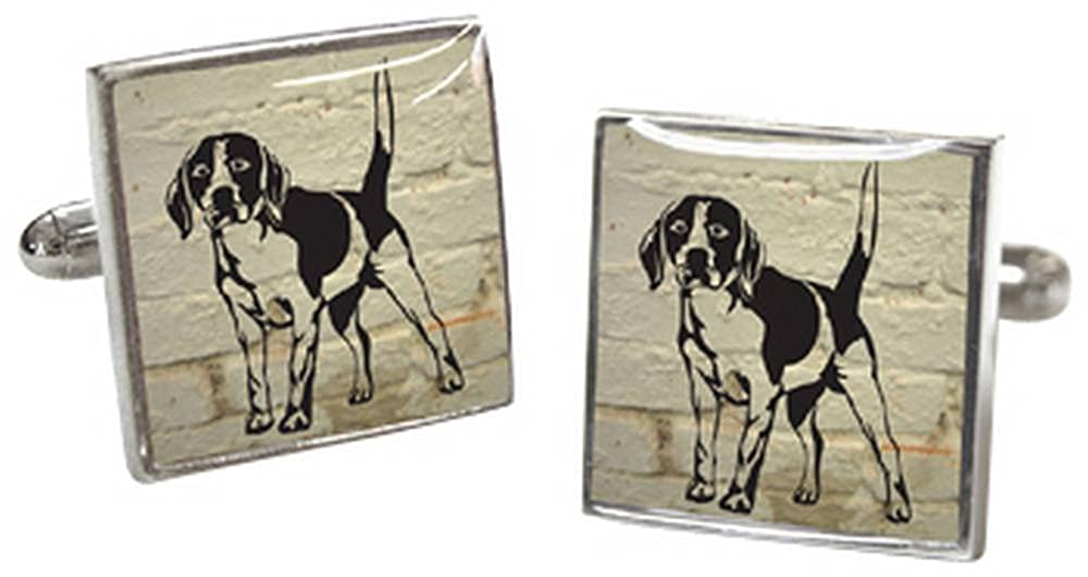 Cream//Black//Silver Tyler and Mens White Brick Jeremy Beagle Cufflinks