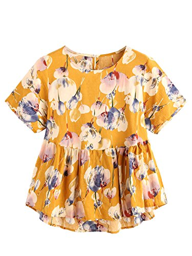 Shein Womens Loose Ruffle Hem Peplum Short Sleeve Blouse Top One Size Floral Yellow
