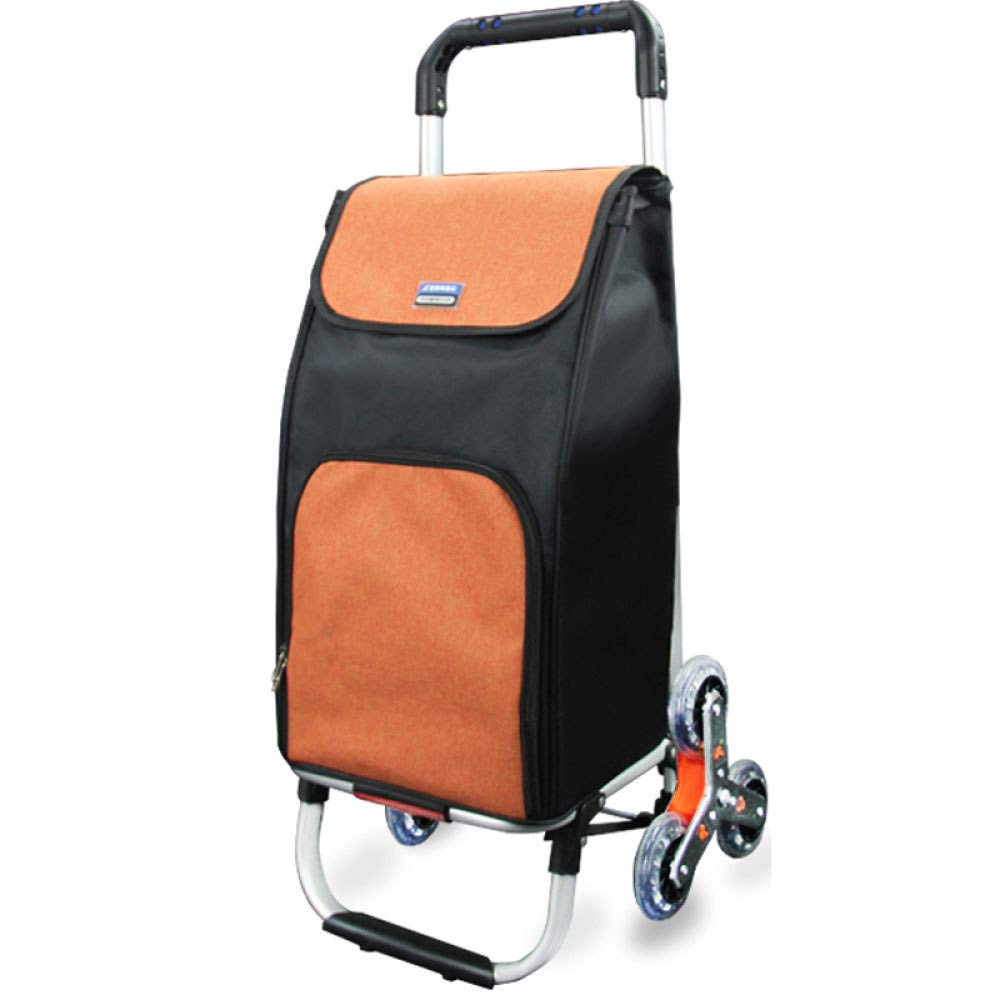 Trolley Aluminum Alloy Lightweight Climbing Stairs Shopping Folding Luggage Cart,Orange