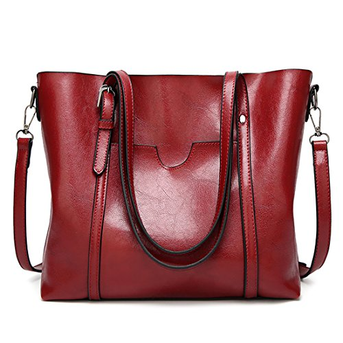 Popular Tote Bags for Women Designer Italian PU Leather Large Capacity Classic Ladies Tote Handbags Cross Body Shoulder Bags for Work Travel Satchels for Girls Burgundy