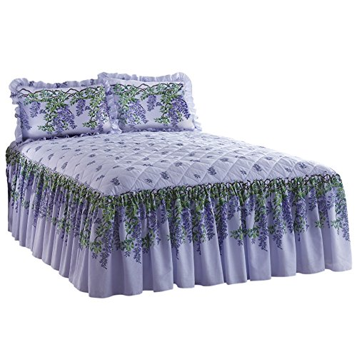 Wisteria Quilt Top Lightweight Bedspread Washable