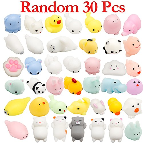 Watinc 30 Pcs Cute Animal Squishy  Kawaii Mini Soft Squeeze Toy Fidget Hand Toy For Kids Gift Stress Relief Decoration  30 Pack