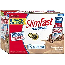 Slim Fast Original weight loss Meal Replacement RTD shakes with 10g of protein and 5g of fiber plus 24 Vitamins and Minerals per serving, Cappuccino Delight,  8 Count