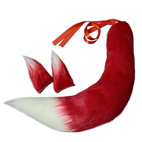 Fox Plush Tails and Clip Ears Anime Spice and Wolf Halloween Cosplay Props Children Toys (Red)]()