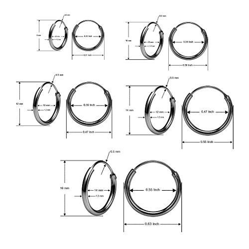 Sterling Silver Endless Hoop Earrings Set Of Five 1.2mm x 8, 10, 12, 14, 16mm Thin Round Unisex Black Flashed Rhodium Finish by Silverline Jewelry (Image #4)