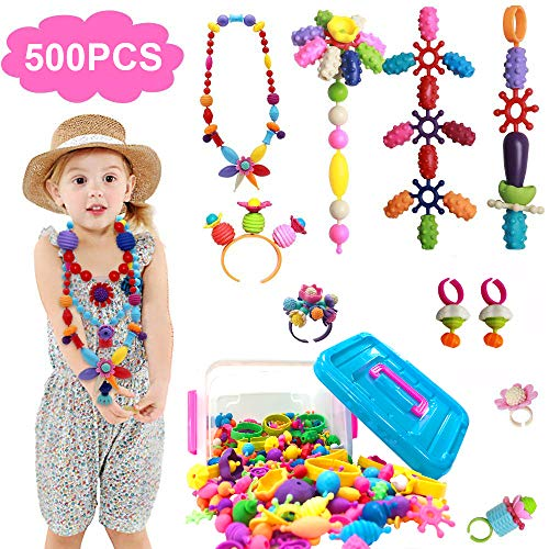 ZGWJ 500 PCS Pop Beads, Jewelry Making Kit for Kids Necklace Bracelet and Ring Creativity DIY Set for Girls & ()