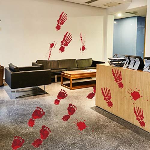 Hot Sale!DEESEE(TM)Bloody Footprints Floor Clings Halloween Vampire Zombie Party Decor Stickers -