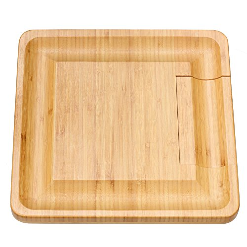 Cortesi Home CH-AX900305 Handi Natural Bamboo Cheese Serving Board Table Set with 4 Stainless Steel Knives 13.25'' Brown by Cortesi Home (Image #1)
