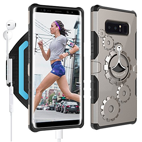Armband Set (Samsung Galaxy Note 8 Armband & Armour Case Set-LOVPHONE Multifunctional Sport Running Armband + Premium Protective Case with Kickstand for Galaxy Note 8,Soft Elastic Strap with Key Holder(Gunmetal)-L)