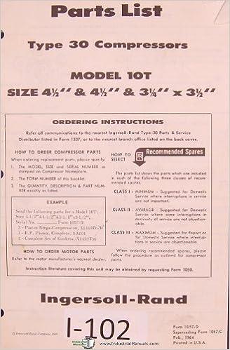 Type 30 Compressor Parts List Manual Ingersoll Rand Model 10T