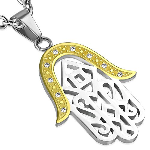 Stainless Steel 2-Tone Silver & Gold colors Hamsa Pendant, Evil Eye Protection,Fatima Hand For Good Luck - Sandblasted Pendant Lamp