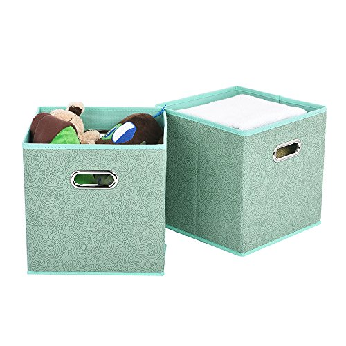 VCCUCINE Foldable Double Metal Handle Cloth Box Baskets Containers Organizer Cube Storage Bins, Collapsible Fabric Drawers Storage Cubes for Shelves(2 Pack, Light Green)