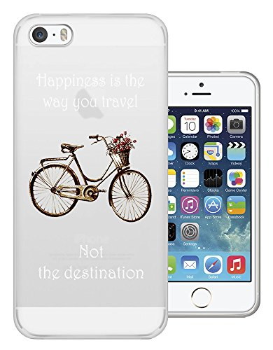 C0120 - Vintage Bicycle Happiness Is The Way You Travel Design iphone 4 4S Fashion Trend Protecteur Coque Gel Rubber Silicone protection Case Coque