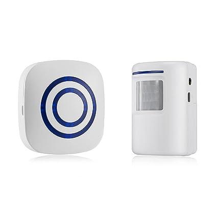gzcrdz inalámbrico entrada alerta: Sensor de movimiento por infrarrojos timbre alarma timbre inalámbrico con 1