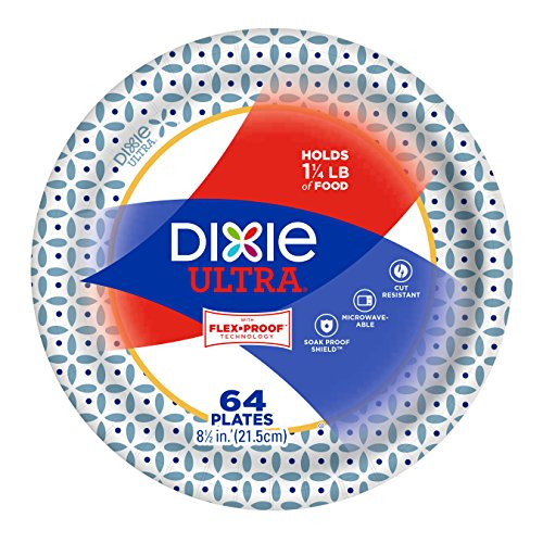Dixie Ultra Paper Plates, Snack/Lunch Size (8 1/2 inches), Pack of 64 Count; Designs May vary