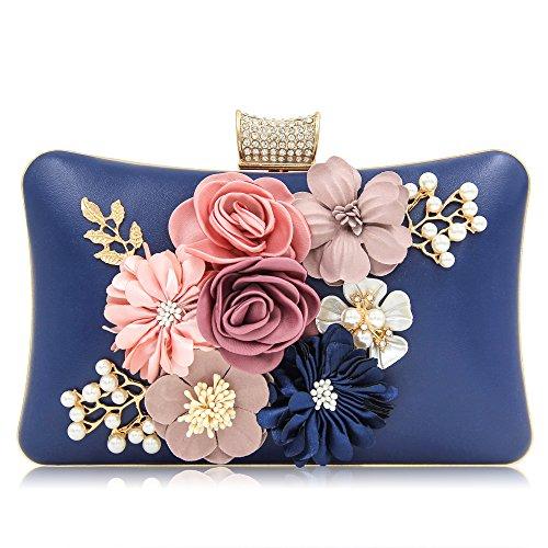 Milisente Women Clutches Purses Bags Flower Evening Bag Wedding Clutches (Navy Blue)