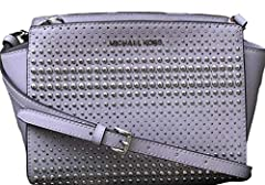 "Saffiano Leather detailed with Stitched & studded. Adjustable & Detachable Strap: 21.5""-23.5"". Interior Details: 1 Zip Pocket and 1 Open Pocket. Lining: 100% Polyester; Measurement: 9""W X 6.5""H X 4""D."
