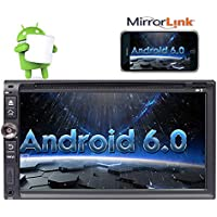 6.95 inch Android 6.0 Car Stereo - 2 Din In Dash Bluetooth GPS Head Unit - Support DVD CD Player Steering Wheel Control USB SD 3G/4G WIFI DVR CAM-IN OBD DAB+ Phone Mirror Autoradio