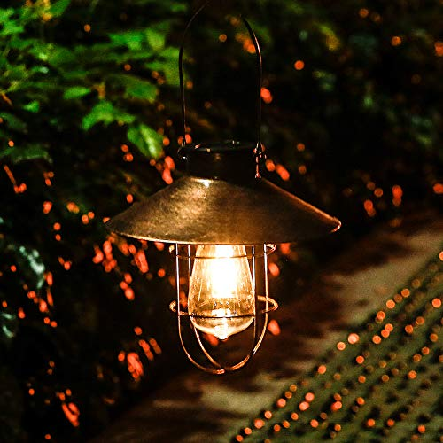 - Outdoor Hanging Solar Lantern Light Copper Solar Lamp with Warm White fliament Bulbs for Garden Yard Pathway