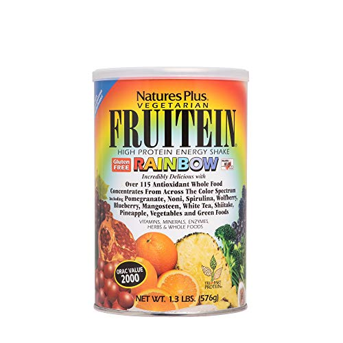 Natures Plus Fruitein Rainbow Shake 1.3 lbs, Vegetarian Protein Powder - Plant Based Meal Replacement, 115 Antioxidant Whole Food Concentrates - Gluten Free - 16 Servings
